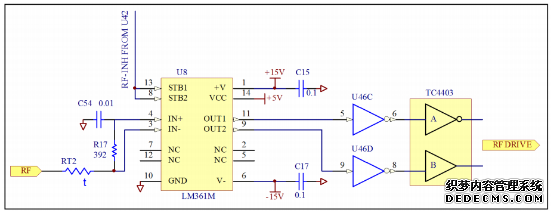 """如图二所示,在射频源上我们只使用三路模拟电子开关。因此地址位也只用两位就可以满足要求,将C和INT端并联接地。A、B 信号来至于 EPLD(U42),由它来决定三路的优先级。介于我们对发射机的载波容差要求很严,故我们在U42中设置 U39 的地址位为 ABC(010),即外部射频源X2优先。当射频源设置为""""自动""""时,EPLD就会自动地对射频源进行选择。并且对外部射频源 X2 进行优先选择。 1."""